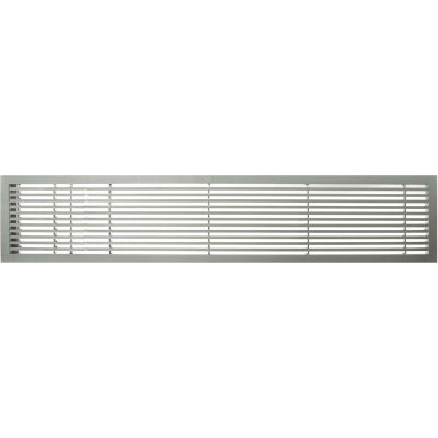 """AG20 Series 6"""" x 48"""" Solid Alum Fixed Bar Supply/Return Air Vent Grille, Brushed Satin w/Left Door"""