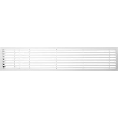 """AG20 Series 6"""" x 48"""" Solid Alum Fixed Bar Supply/Return Air Vent Grille, White-Matte w/Left Door"""