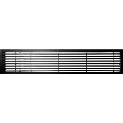 "AG20 Series 6"" x 48"" Solid Alum Fixed Bar Supply/Return Air Vent Grille, Black-Matte w/Left Door"