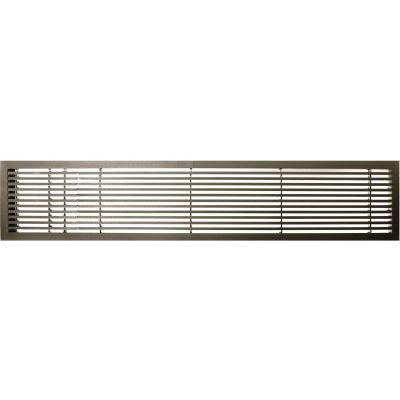 "AG20 Series 6"" x 48"" Solid Alum Fixed Bar Supply/Return Air Vent Grille, Antique Bronze w/Left Door"