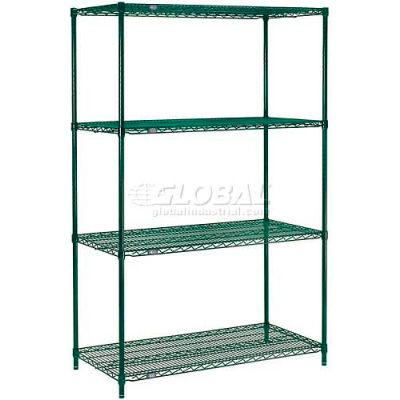 "Nexel® Poly-Green® Wire Shelving Starter, 48""W x 24""D x 63""H"
