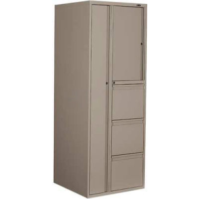 """9300P Series Personal Tower, 3 File Drawers On Left, 24""""W x 24""""D x 65-1/4""""H, Stone"""