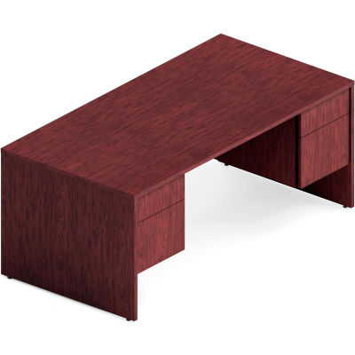 "Global™ Wood Desk with Double Pedestal - 72"" - Quartered Mahogany  - Genoa Series"