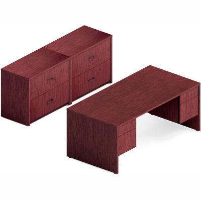 "Global™ 72"" Double Pedestal Desk & 2 Lateral File Cabinets - Quartered Mahogany - Genoa Series"