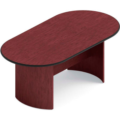 "Global™ Boardroom Table - Racetrack - Laminate - 72""L x 36""W - Quartered Mahogany"