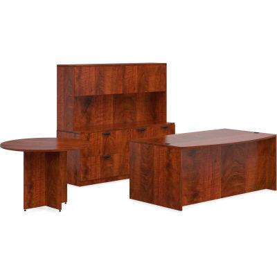 "Offices To Go™ Wood Desk w/ Hutch, Credenza & Round Table - 71"" - Dark Cherry -Bundle #7"