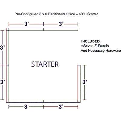 "Interion® Pre-Configured Office Cubicle - 6'W x 6'D x 60""H - Starter Kit - Blue"