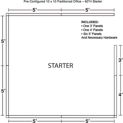 "Interion® Pre-Configured Office Cubicle - 10'W x 10'D x 60""H - Starter Kit - Blue"