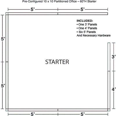 "Interion® Pre-Configured Office Cubicle - 10'W x 10'D x 60""H - Starter Kit - Blue"