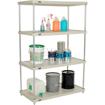 "Nexel® Solid Plastic Shelving Unit - Silver Epoxy Posts - 36""W x 18""D x 74""H - 4 Shelf"