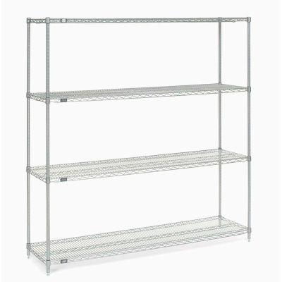 "Nexel® Stainless Steel Wire Shelving Starter Unit - 5 Tier - 60""W x 24""D x 86""H"