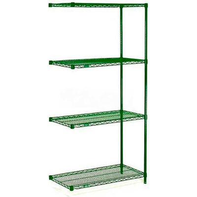 """Nexel® Poly-Green® Wire Shelving Add-On Unit - 5 Tier - 36""""W x 18""""D x 63""""H"""