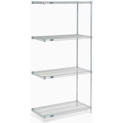 "Nexel® Poly-Z-Brite® Wire Shelving Add-On Unit - 5 Tier - 42""W x 18""D x 63""H"
