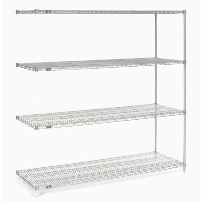 """Nexel® Stainless Steel Wire Shelving Add-On Unit - 5 Tier - 60""""W x 24""""D x 74""""H"""