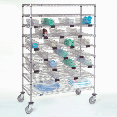"Nexel® Chrome Catheter Cart with Baskets, 5"" Swivel Casters, 48""W x 24""L x 68""H"