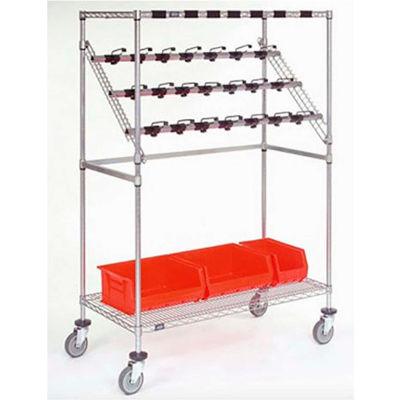 "Nexel® Chrome Catheter Procedure Cart, 5"" Swivel Casters, 24""L x 60""W x 68""H"