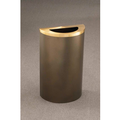 Glaro 14 Gallon Half Round Waste Receptacle, Satin Black/Satin Brass - 1891-BK-BE