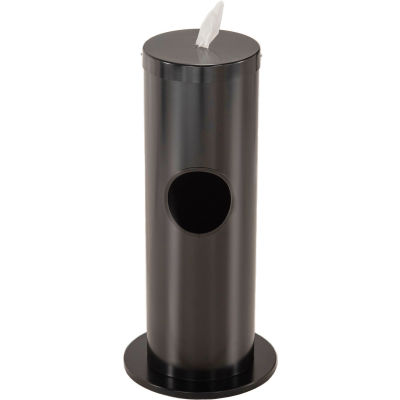 Glaro 2 Gal. Floor Standing Sanitary Wipe Disp., Satin Black w/One Roll of Antibac. Wipes-F1029-BK