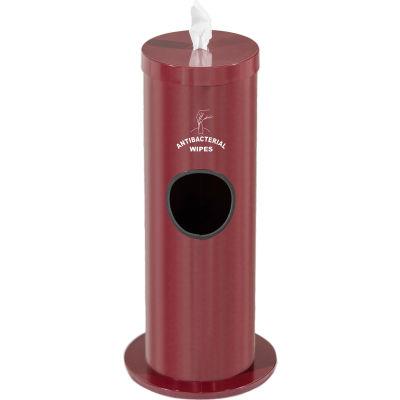 Glaro 2 Gal. Floor Sanitary Wipe Disp.,w/Logo, Burgundy w/One Roll of Antibac. Wipes-F1029-S-BY