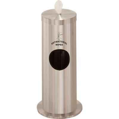 Glaro 2 Gal. Floor Sanitary Wipe Disp. w/Logo, Satin Aluminum w/One Roll of Antibac. Wipes-F1029SSA