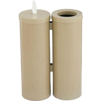 Glaro Floor Standing Sanitary Wipe Disp. & Recept, Desert Stone w/One Roll of Antibac. Wipes