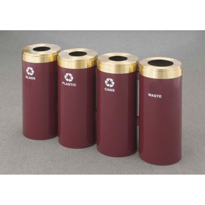 Glaro Value Recyclepro 4 Unit Satin Black/Satin Aluminum (4) 15 Gal Bottle/Paper/Waste/Can - 1242-4