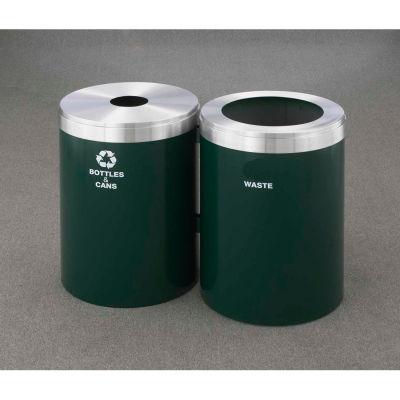 Glaro Value Recyclepro 2 Unit Satin Black/Satin Aluminum, (2) 41 Gallon, Bottles/Cans/Waste - 2042-2