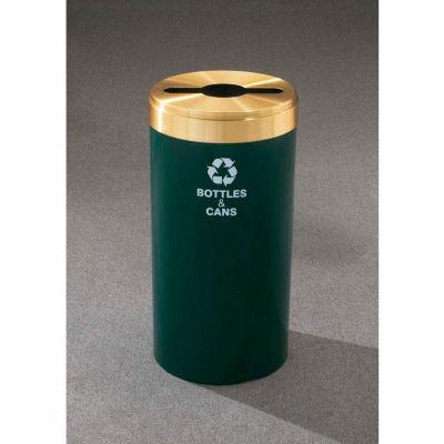 Glaro Value Recyclepro Single Stream Midnight Blue/Satin Brass, 15 Gallon Mixed Recycle - M-1242