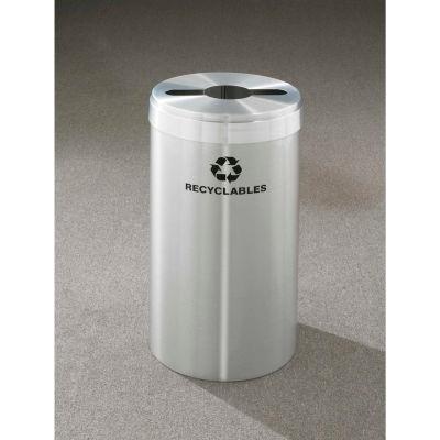Glaro Value Recyclepro Single Stream Satin Aluminum, 23 Gallon Mixed Recycle - M-1542-SA