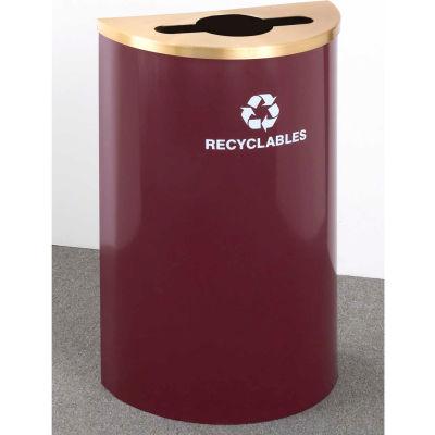 Glaro Value Recyclepro Single Stream Half Round Hunter Green, 16 Gallon Mixed Recycle - M1899V