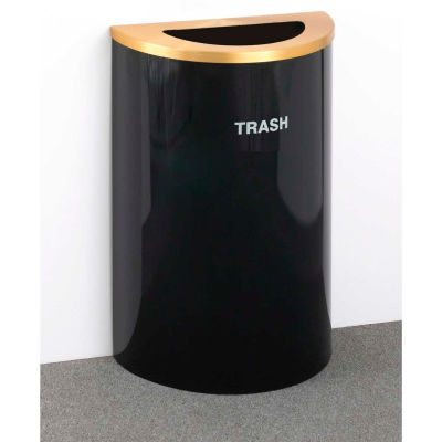 Glaro Recyclepro Single Stream Half Round Satin Black/Satin Brass, 14 Gallon Trash - T1899