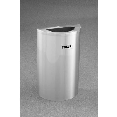 Glaro Recyclepro Single Stream Half Round Satin Aluminum, 14 Gallon Trash - T1899SA