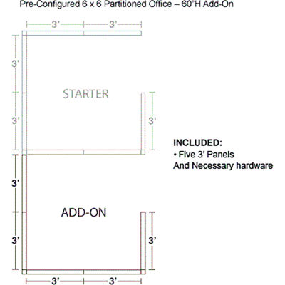 """Interion® Pre-Configured Office Cubicle - 6'W x 6'D x 60""""H - Add-On Kit - Blue"""