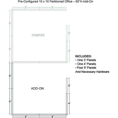"""Interion® Pre-Configured Office Cubicle - 10'W x 10'D x 60""""H - Add-On Kit - Blue"""