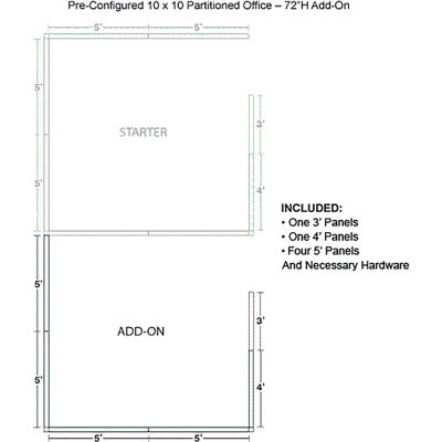"""Interion® Pre-Configured Office Cubicle - 10'W x 10'D x 72""""H - Add-On Kit - Gray"""