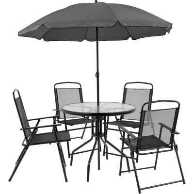 Flash Furniture 5-Piece Nantucket Outdoor Patio Dining Set with Umbrella - Black