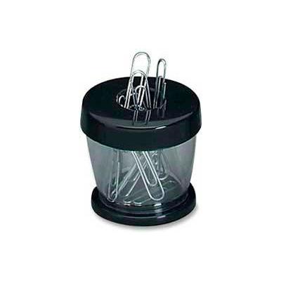 GEM® Magnetic Paper Clip Dispenser, Black/Clear, 1 Each