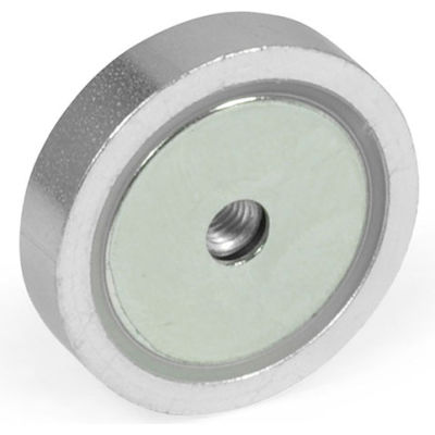 """J.W. Winco 50.5-ND-40 Retaining Magnet Assembly Disc-Shaped w/ Tapped Hole - 1.57"""" Diameter, Steel"""