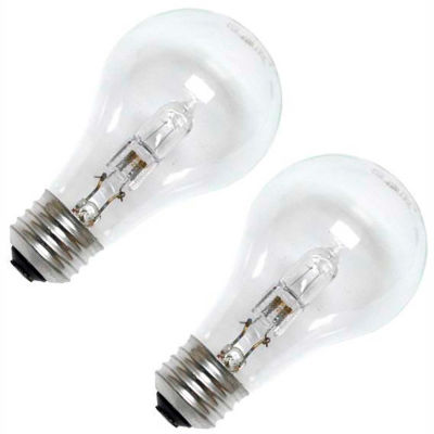 GE 78797 Halogen Bulb A-19 Medium Screw, 1050 Lumens, 100 CRI, 53W, 120V, 2-pack, Clear