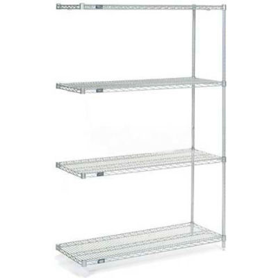 "Nexelate® Silver Epoxy Wire Shelving Add-On 24""W x 18""D x 74""H"