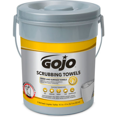GOJO Scrubbing Wipes, 72 Wipes/Can, 6 Cans - 6396-06