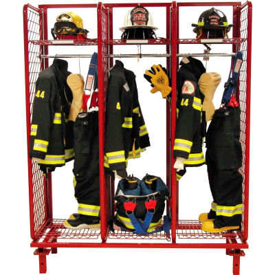 """Red Rack™ Freestanding Gear Storage Rack Locker, Single Sided, Three 24"""" Sections, Red"""