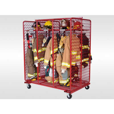 """Red Rack™ Mobile Gear Storage Rack Locker, Double Sided, Six 20"""" Sections, Red"""