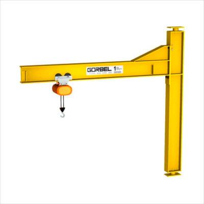 Gorbel® HD Mast Type Jib Crane, 8' Span & 18' OAH, Drop Cantilever, 2000 Lb Cap