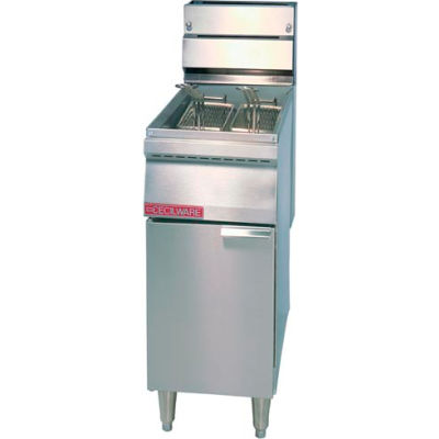 Floor Model Gas Fryers, 40 lbs, SS Tank and Body, Nat Gas