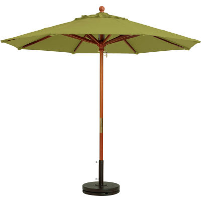 Grosfillex® 9' Wooden Market Outdoor Umbrella - Pesto