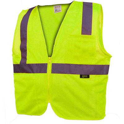 GSS Safety 1001 Standard Class 2 Mesh Zipper Safety Vest, Lime, XL