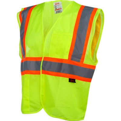 GSS Safety 1007 Standard Class 2 Two Tone Mesh Hook & Loop Safety Vest, Lime, Large