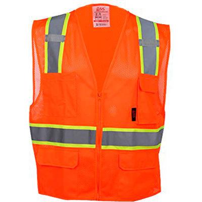 GSS Safety 1502 Multi-Purpose Class 2 Two Tone Mesh Zipper 6 Pockets Vest, Orange, 2XL