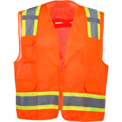 GSS Safety 1504 Premium Class 2 Fall Protection Mesh 6 Pockets Safety Vest, Orange , 2XL